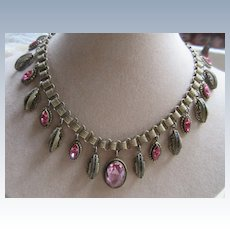 Vintage 30s Book Chain Crystal Necklace Enameled Accents