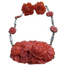 Vintage Deco Celluliod Floral Necklace and Screw Back Earrings