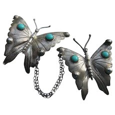 Vintage Silver Mexican Butterflies Pin