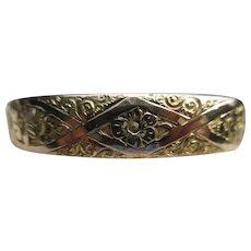Antique Gold Fill Floral Bangle Bracelet JFSS