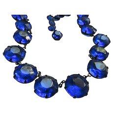 Vintage 19'' Deep Blue Open Back Crystal Necklace