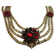 Vintage Garnet Colored Glass Cabochon Necklace