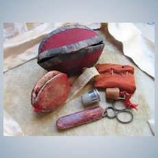 Collectible Ols Sewing Kit Hand Made Pouch Advertising Tape Measure