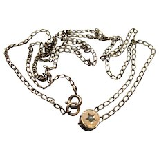 Antique Watch Chain Slide Necklace in Gold Fill