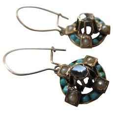 Victorian 12K Persian Turquoise Seed Pearl Rose Cut Diamond Earrings circa 1880