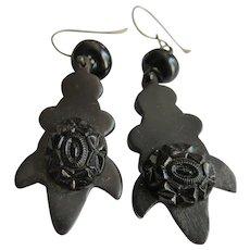 Victorian Vulcanite Pierced Earrings