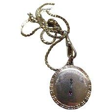Antique Art Nouveau Paste Locket Necklace
