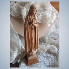 Vintage 7'' Carved Wood Blessed Mother Statue