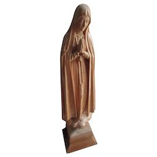 Vintage 7'' Carved Wood Blessed Mother Statue