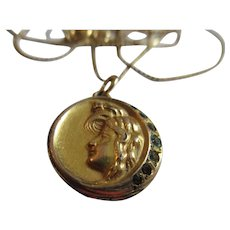 Antique Art Nouveau Crescent Moon Paste Locket Charm Necklace