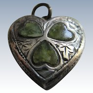 Vintage Sterling Puffy Heart Charm Stone Inlays