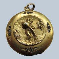 Antique Cherub Locket in Gold Fill  W&SB Makers Mark