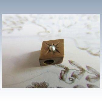 Antique 10K Seed Pearl Watch Slide