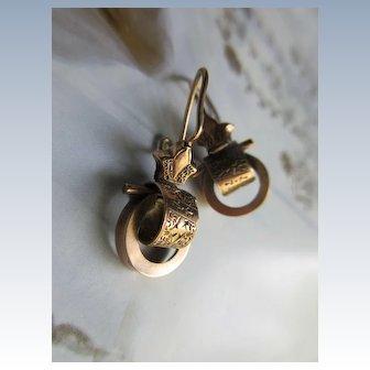 Antique Victorian Door Knocker Earrings in gold fill
