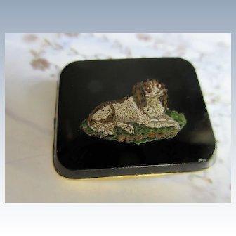 Antique 19th Century Micro Mosaic Dog Pin