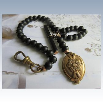 Victorian Beaded Watch Chain with Gold Fill Fob