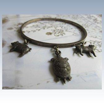 Antique Sterling Figural Charm Bracelet