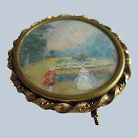 Antique French Lovers Scene Painting Pin