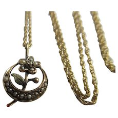 Antique 14K Crescent Moon and Flower Honey Moon Necklace