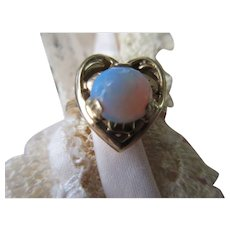 Vintage 10K Opal Heart Ring