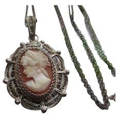 Vintage 800 Spun Silver Cameo Necklace