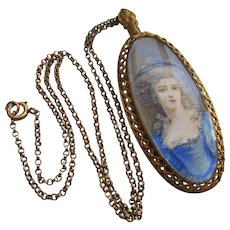Antique Portrait Necklace in Gold Fill