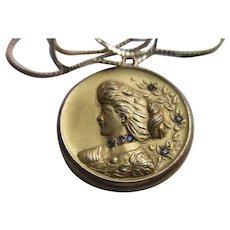 Antique Art Nouveau Lady Paste Locket in gold Fill