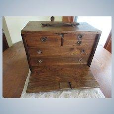 Antique Oak Workman's Chest Tool Box