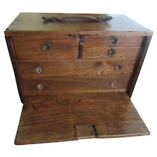 Antique Oak Workman's Chest Tool Box