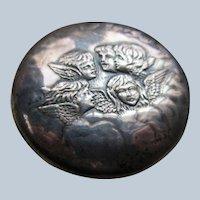 English Edwardian Silver Dresser Jar  Reynold's Angels
