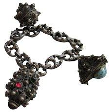 Vintage 800 Silver Etruscan Revival Charm Bracelet European