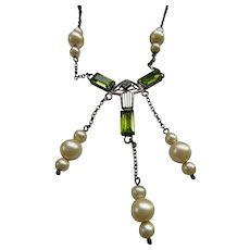 Vintage circa 1920 Peridot Glass Sterling Lavaliere Necklace
