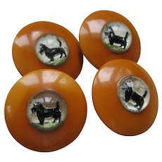 Vintage Bakelite Scotty Dog Buttons Reverse Painted Glass