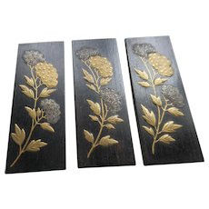 Vintage Japanese Lacquered Wood Panels
