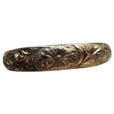 Victorian Repousse Gold Fill Bangle Bracelet
