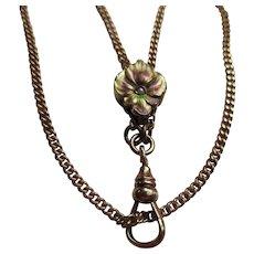 Antique Art Nouveau Bates & Bacon Ladies Watch Chain Enameled Pansy Slide