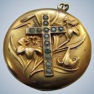 Antique Art Nouveau Religious Locket Paste Cross