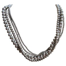Vintage 19'' Four Strand Sterling Necklace