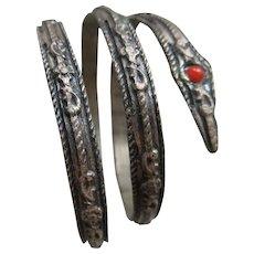 Older Vintage Coiled Snake Bracelet Snake Bangle