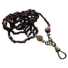 Antique Garnet Watch Chain Locket Chain