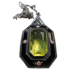 Vintage Enameled Czech Necklace