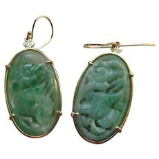 Vintage 18K Jade Pierced Earrings