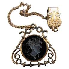 Antique Intaglio Watch Fob on Vest Pocket Clip