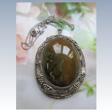 Vintage Chinese Import Silver Stone Necklace
