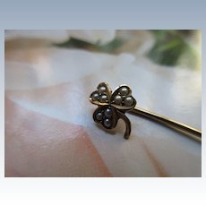 Antique 10K Shamrock - Clover Stick Pin Seed Pearl Accents
