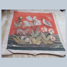 19th Century Embroidered Panel Birds Animals Flowers