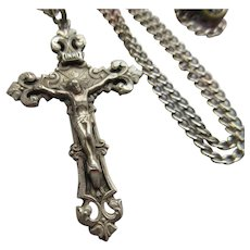 Vintage Sterling Crucifix Necklace
