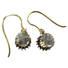 Antique 10K Quartz Pierced Earrings