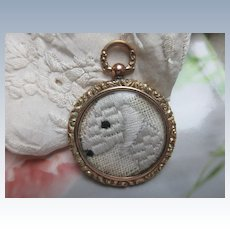 Antique 10K Double Sided Picture Locket with Dog Embroidery