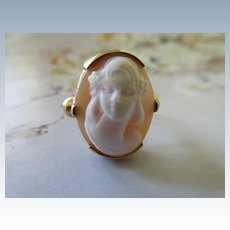 Vintage 10K Carved Shell Cameo Ring